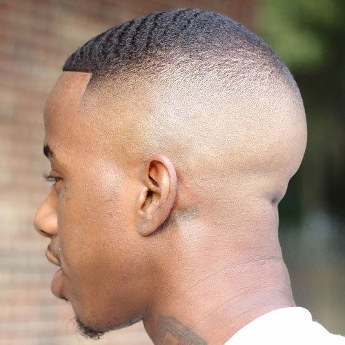 High Skin Fade with Waves and Edge Up