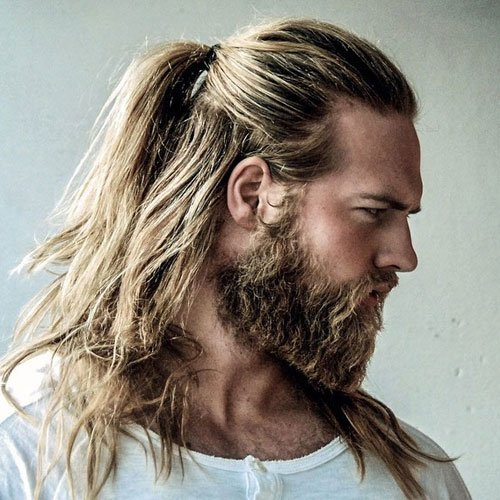 Long Hair Ponytail with Full Beard