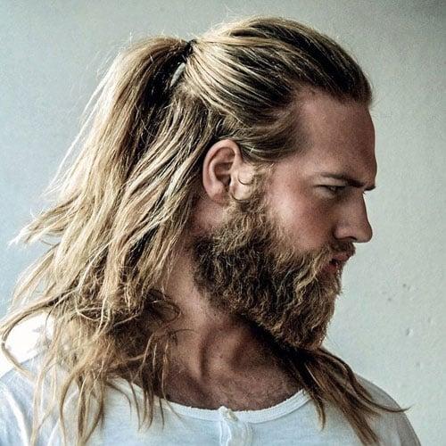 Long Hair Ponytail with Full Beard