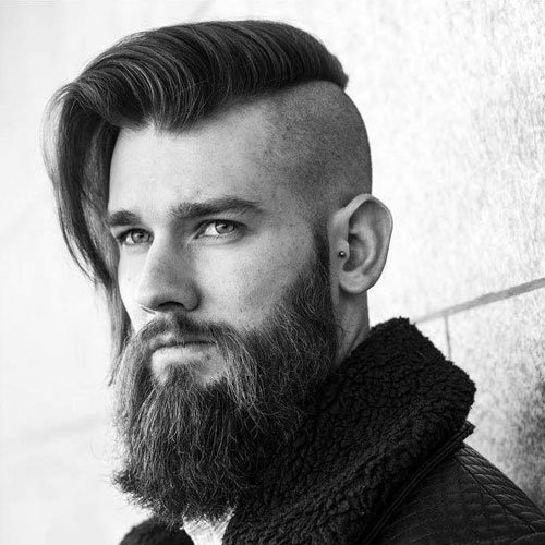 Long Undercut Comb Over with Thick Beard