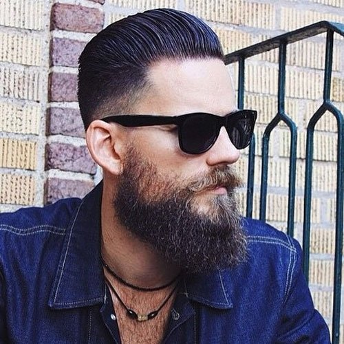 Low Fade + Slick Back + Long Beard