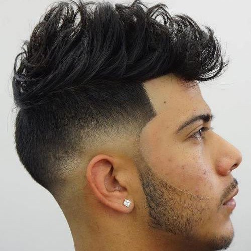 Low Skin Fade with Line Up and Messy Quiff