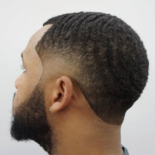 Low Skin Fade with Waves and Beard
