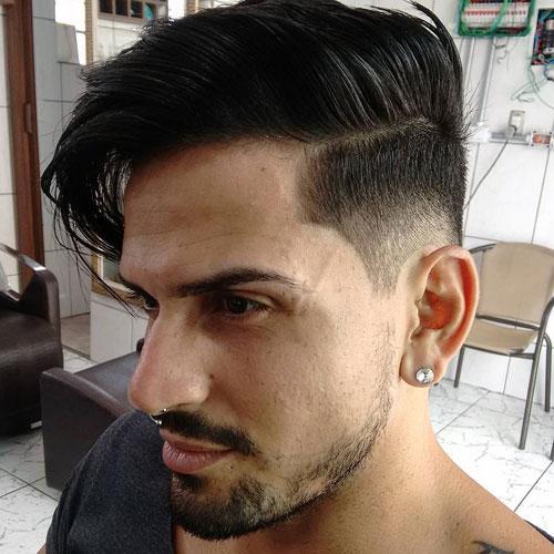 Medium Length Parted Hair with Mid Fade