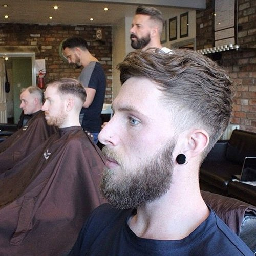 Mid Taper Fade with Wavy Textured Top