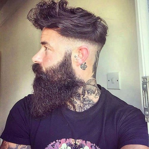 Razor Fade + Fringe + Full Beard