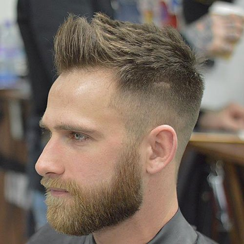 Short Textured Hair + Taper Fade + Full Beard