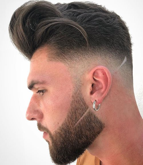 Textured Quiff + Low Bald Fade + Short Beard