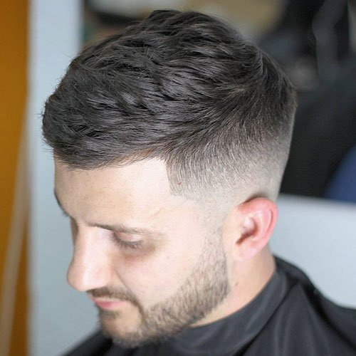 Textured Side Swept Hair with High Fade