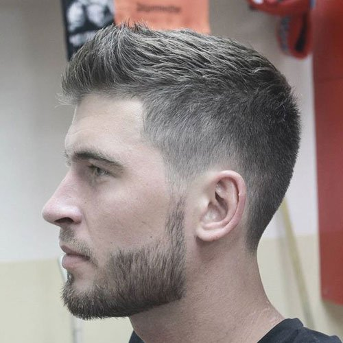 Textured Top with Low Taper Fade and Beard