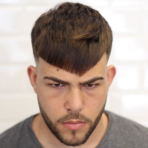 Marvelous 7. Angled Fringe + Fade + Facial Hair