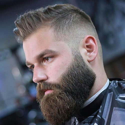 Cool Groomed Beard + Fade + Textured Comb Over