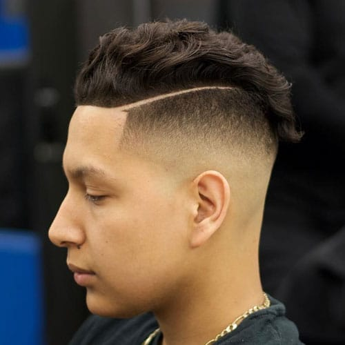 High Bald Fade + Hard Part + Wavy Slick Back