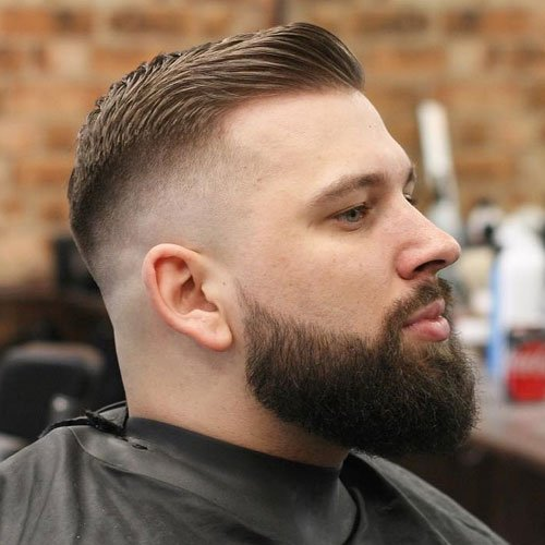 High Skin Fade + Side Swept Fringe + Thick Beard