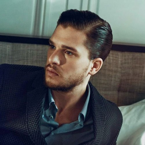 Kit Harington Haircut - Slicked Back Sides and Hard Side Part