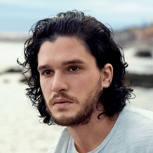 Kit Harington Hairstyle - Medium-Length Curly Hair with Beard