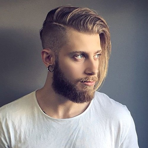 Long Comb Over with Undercut and Beard