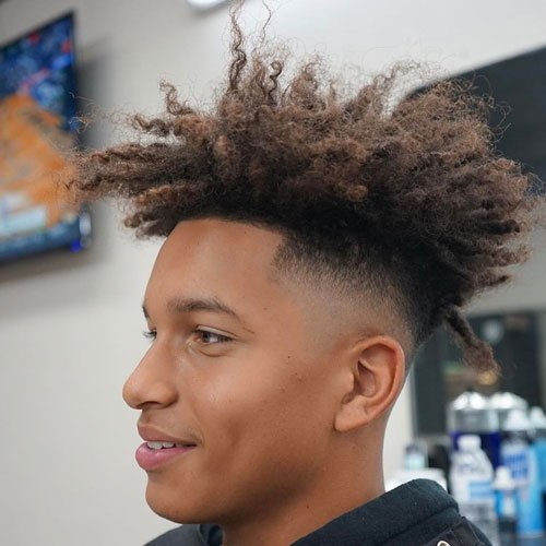 Long Curly High Top Fade