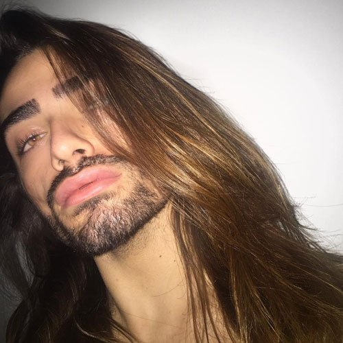 Long Straight Hair with Beard