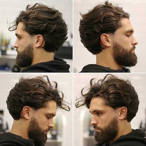 Long Wavy Sweep Back with Thick Beard