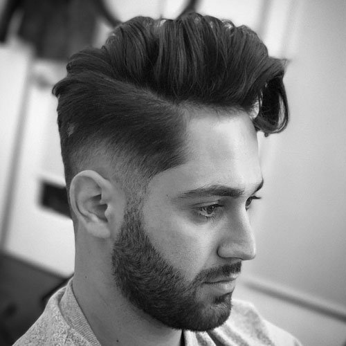 Low Bald Fade + Long Comb Over + Stylish Beard