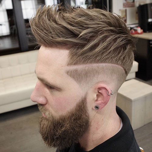 Low Fade + Line in Hair + Textured Spiky Hair + Full Beard