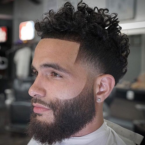Low Mid Fade + Line Up + Long Curly Hair + Beard