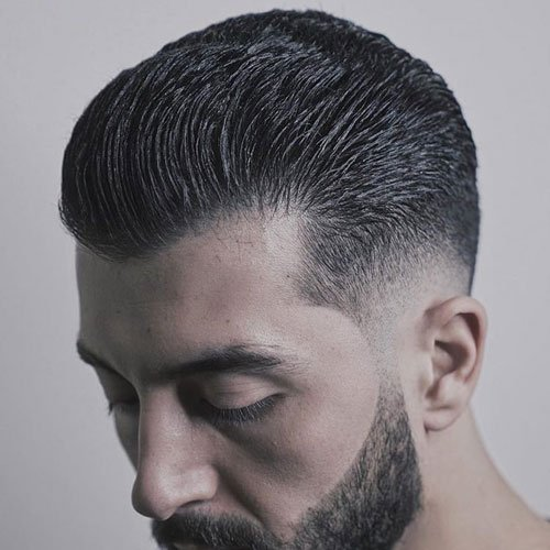 Low Skin Taper + Brushed Back Hair