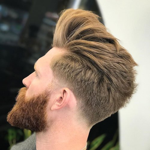 Low Taper Fade + Loose Pompadour + Thick Full Beard