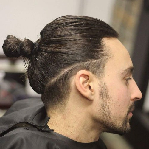 Man Bun with Low Fade