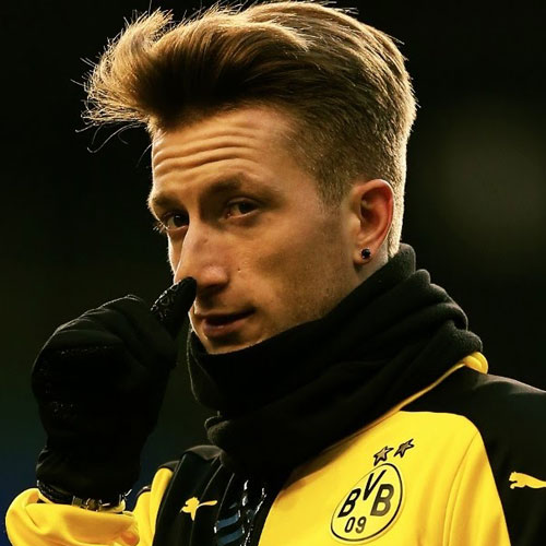 Marco Reus Hairstyle - Textured Comb Over Fade and Long Side Swept Front