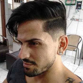 Mid Fade Cut + Long Comb Over + Beard