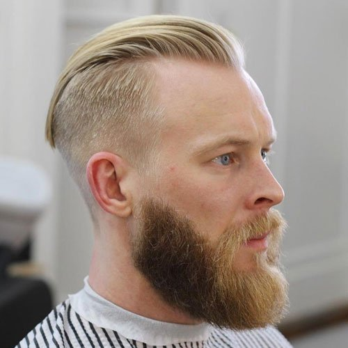 Slicked Back Undercut + Full Blonde Beard