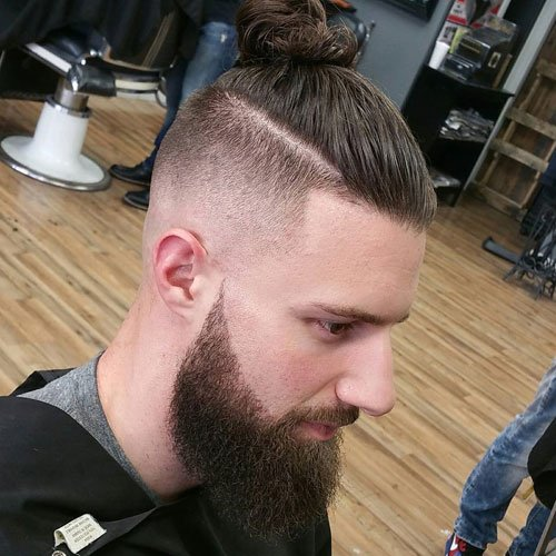 Top Knot with High Skin Fade and Full Beard