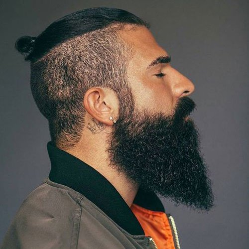 Undercut + Top Knot + Big Beard