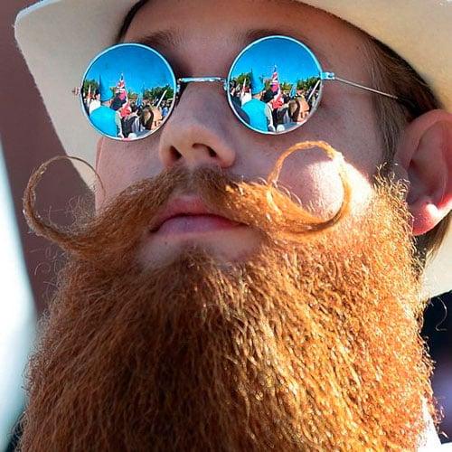 Curly Mustache + Long Full Beard