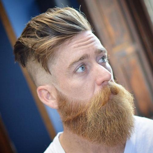 Disconnected Undercut + Brushed Back Hair + Long Beard