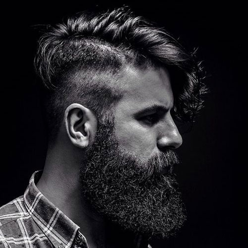 Fade + Comb Over + Long Bushy Beard