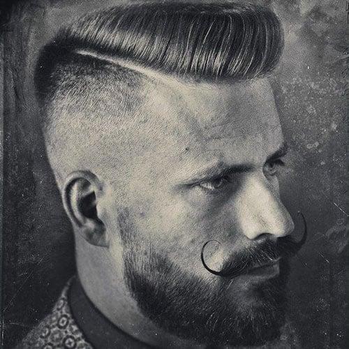 Handlebar Mustache + Thick Beard + Hard Part Comb Over