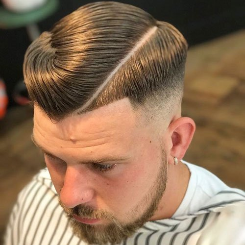 Hard Part Comb Over + High Fade + Shape Up