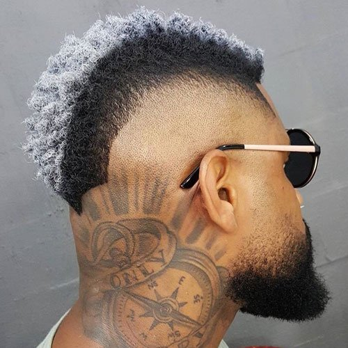 High Burst Fade Mohawk + Thick Beard