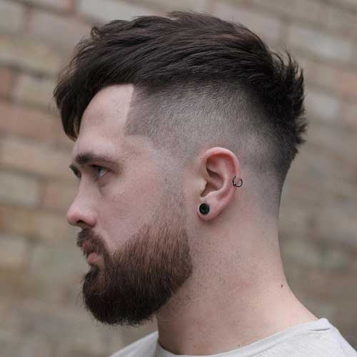 High Fade + Line Up + Thick Textured Top + Beard