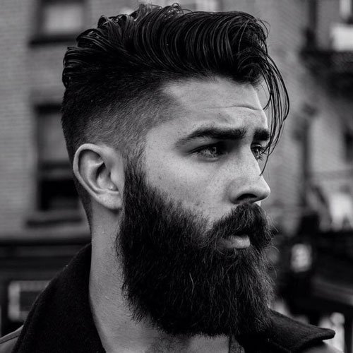 High Fade + Long Comb Over + Perfect Beard