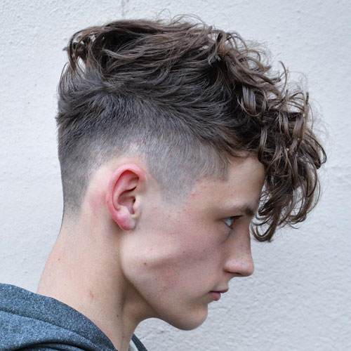 High Fade + Long Curly Fringe