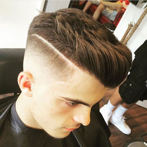 High Fade + Part + Thick Brush Up