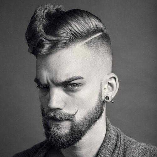 High Skin Fade + Hard Side Part + Handlebar Mustache with Beard