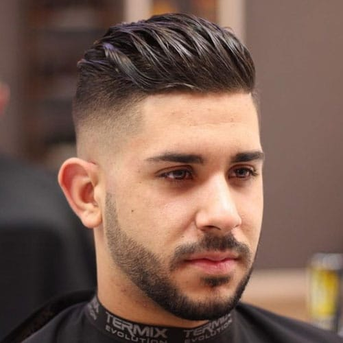 Superior High Skin Fade + Shape Up + Slicked Back Hair + Beard