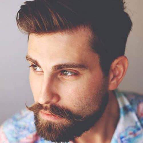 Hipster Handlebar + Short Beard + Textured Comb Over