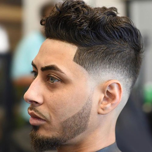Niedrige Kahle Fade + Line-Up + Thick Textured Top