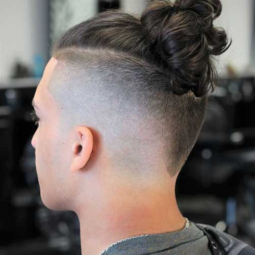 Man Bun + Shaved Sides + V-Cut Back
